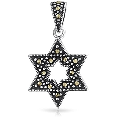 Bling Jewelry Antiqued Sterling Silver Star di Davide Marcasite Pendant
