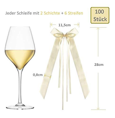 MVPower 100Stück Antennenschleifen Autoschleifen Autoschmuck Autodeko Satinband, Deko Schleifen für Hochzeit Brautauto Party Feste (Creme/Beige/Champagner)