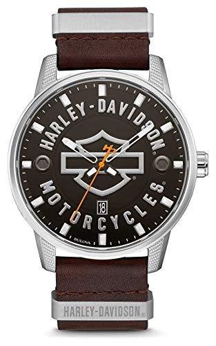 Harley Davidson Quadrante in pelle marrone con cinturino in pelle marrone da uomo 76B178