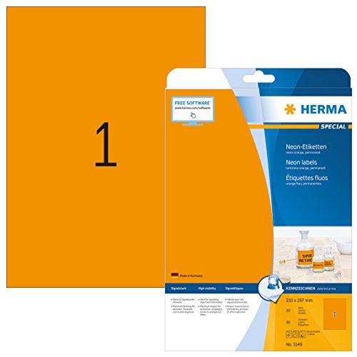 Herma 5149 Neonetiketten neon orange (Format DIN A4 210 x 297 mm) 20 Farbetiketten, 20 Blatt DIN A4 Papier farbig matt, signalstark, bedruckbar, selbstklebend