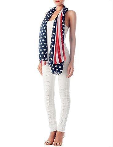 iB-iP Femme Drapeau Américain Tirages Grand Magnifique L Long Écharpe À La Mode, Marine