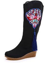 MEI&S Mujer desnuda bordado botas zapatos estilo nacional talón áspero tubo corto.