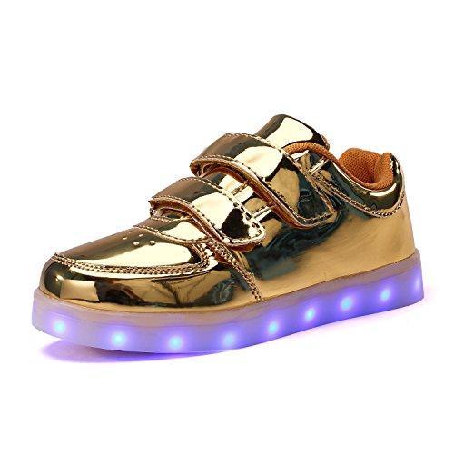 Voovix Kinder Schuhe mit Licht LED Leuchtende Blinkende Low-Top Sneaker USB Aufladen Shoes für Mädchen und Jungen(Gold/2,EU37)