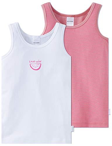 Schiesser Mädchen Unterhemd Mehrfarbig (Sortiert 1 901)/Marron Herstellergröße: 128 (per of 2)