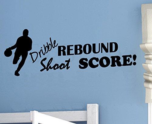 homemay PVC Wandtattoo Aufkleber Englisch Shoot Score Basketball Pitching grün Schlafzimmer decorwallpaper91.4cm x30.5cm, Matt Sliver, 91.4cm x30.5cm