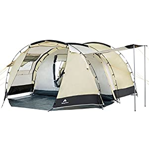 campfeuer - tunnel tent family tent 3000 mm water column - sand/black
