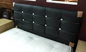 Black Faux Leather Crystal Diamante Headboard to fit a 4ft6 Double Bed