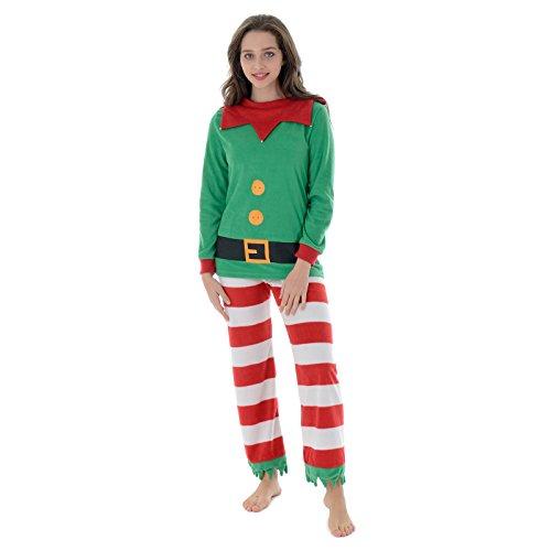 Autumn Faith Womens Christmas Mummy Elf Fleece Pyjamas Set Ladies Santas Little Helper Red & Green Long Sleeved Top & Bottoms Novelty Xmas PJS Nightwear