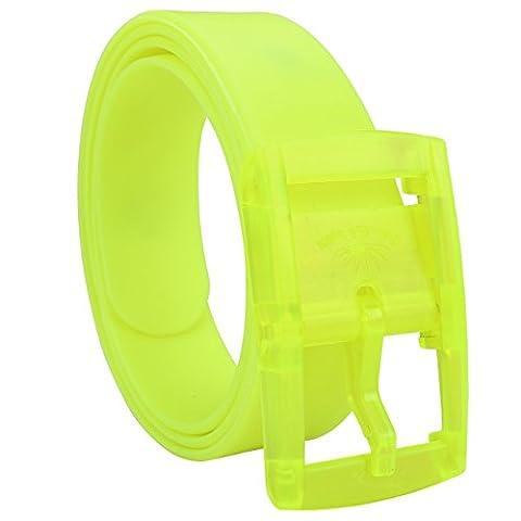 Faleto Mode Herren Damen Parfüm Gürtel Silikon Neon Gürtel Anti Allergie Gürtel kürzbar Belts Candy Colour 115-120cm + Original Geschenkbox (Neon Gelb)