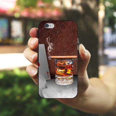 Apple iPhone 5 Housse Étui Silicone Coque Protection Cigare Whisky Cartes Housse en silicone noir / blanc