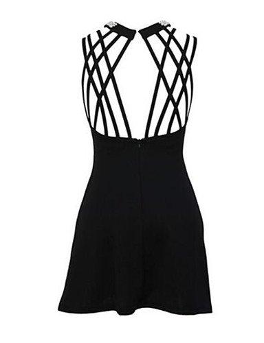 PU&PU Robe Aux femmes Moulante Vintage,Couleur Pleine Col Arrondi Au dessus du genou Polyester BLACK-M