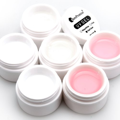 Lot de 6 gels uv pr ongles faux tip french manucure transparent/rose/blanc