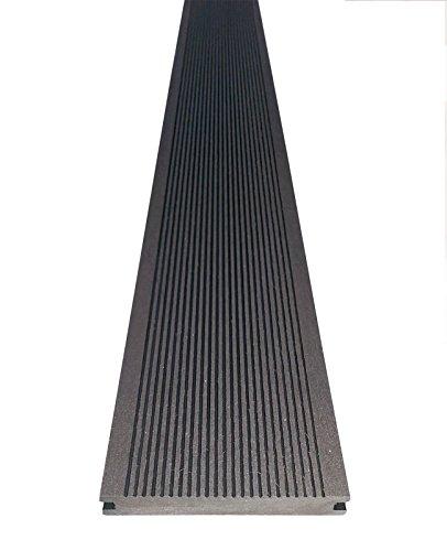 WPC Terrassendiele 220 x 14 x 2,15 cm, dunkelgrau, Massivprofil, 4 Stück