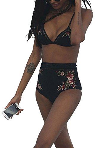 Summer Mae Bikini Coordinati a Vita Alta Nero Stampato Costume da Bagno da Mare da Donna Nero