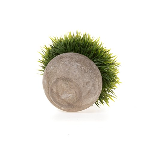 T4U Künstliche Grün Gras Bonsai Kunstpflanze mit grauen Topf, für Hochzeit/Büro/Zuhause Dekoration - 3er Set - 5
