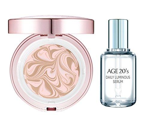 Age 20's Essence couverture poudre rose latte (1 caisse 2 recharges, 2 bouffées, sérum lumineux) # 21 LATTE ROSE