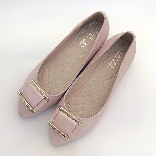 DYF Damenschuhe Farbe Größe Scharfe Niedrigem Absatz Flach Mund, Light Pink, 43 Light Pink Patent Schuhe