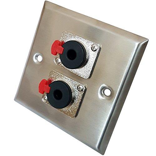 aus gebürstetem Stahl (2x) 6,35mm (1/10,2cm) Stereo Steckdose Metall Wall Face Plate-Audio, Kopfhörer, Mikrofon/Mikrofon, Buchse/weiblich Verbindungen-Cablefinder Stereo-wall Plate
