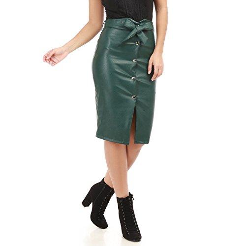 La Modeuse - Jupe longue taille hauteen simili cuir Vert