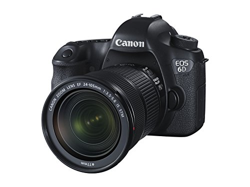 Canon EOS 6D SLR-Digitalkamera (20,2 Megapixel, 7,6 cm (3 Zoll) Display, Full-HD, CMOS-Vollformatsensor) Kit inkl. 24-105 mm IS STM Objektiv schwarz