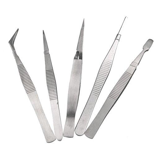 Tinksky 5-en-1 pince à épiler en acier inoxydable de haute précision réparation outils Set (Silver)