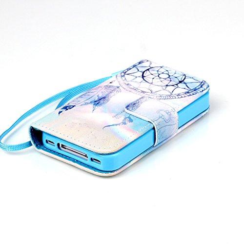 iphone 4s Coque Rabat,Kakashop Apple iphone 4 Pretty Colorée Peinture dreamcatcher bleu Motif Clapet Case avec Fonction de debout et fentes pour cartes, Luxueux PU Cuir Magnétique Portefeuille Housse  dreamcatcher bleu