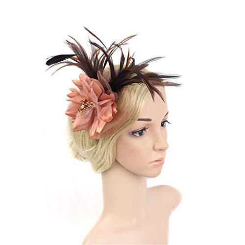 QIMANZI Fascinators Hut Cocktail Party Tee Kopfbedeckung Blume Mesh Organza Bänder Federn auf Einem Stirnband und Gabel Clip für Mädchen und Damen(Kaffee) Fancy Gabeln