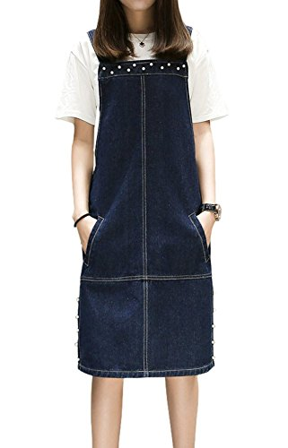 TOPJIN Women's Plus Size Jeans Overall Dress Denim Suspender Skirts with Pockets Dark Blue 4XL Plus Size Womens Jean Overalls