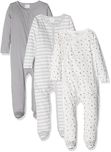 Twins Unisex Baby Strampler im 3er Pack, Grau (14-4105 Grau), 74