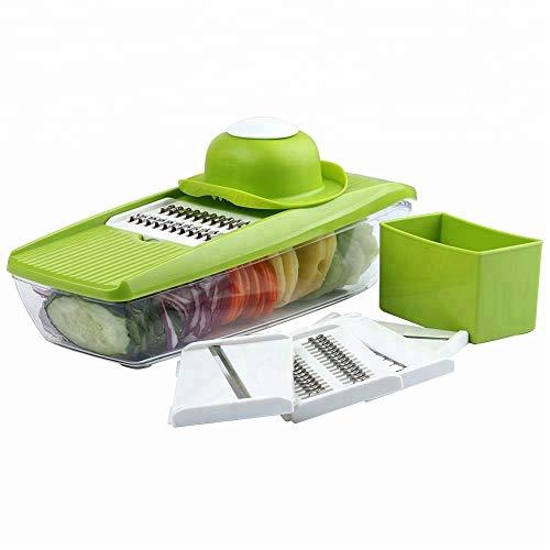 Aigner & Reiter Gemüseschneider Mandoline, Gemüsehobel mit 5 austauschbaren Klingen und Griff zum Schutz vor Verletzungen, ideal zum Hobeln von Obst, Gemüse und Käse (Potato Slicer Messer)