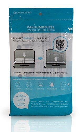 3er-Set Vakuumbeutel Aufbewahrungsbeutel – Platzsparer für die Reise, Transport, Umzug, Aufbewahrung   Kompressionsbeutel Roll-Up Beutel für Kleidung, Bettwäsche   wiederverwendbare Vakuumrollen