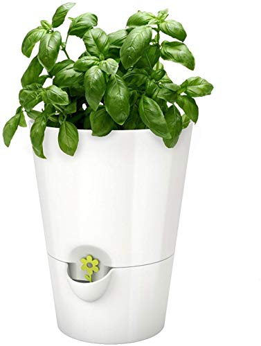 Emsa FRESH HERBS Pot à herbes fraîches, avec système d'irrigation, Ø 13 cm, blanc