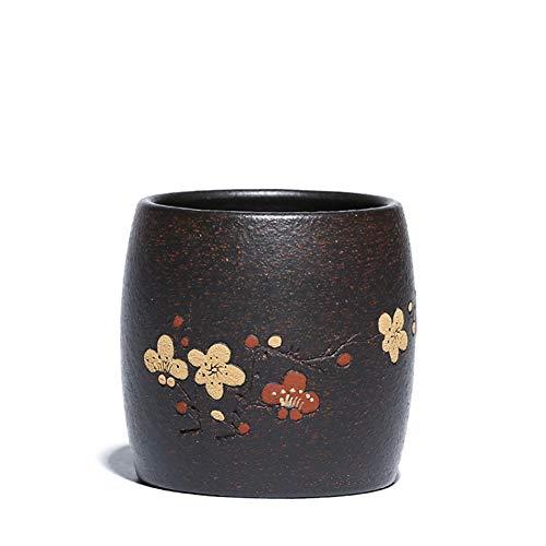 JYL China Yixing lila Sand Tasse, schwarz Gold Sand Tee Schüssel Pflaume gerade Tasse Tee Tasse, Kung Fu Tee kleine einzelne Tasse 100cc,A,1pcs (Blühenden Tee-tassen)