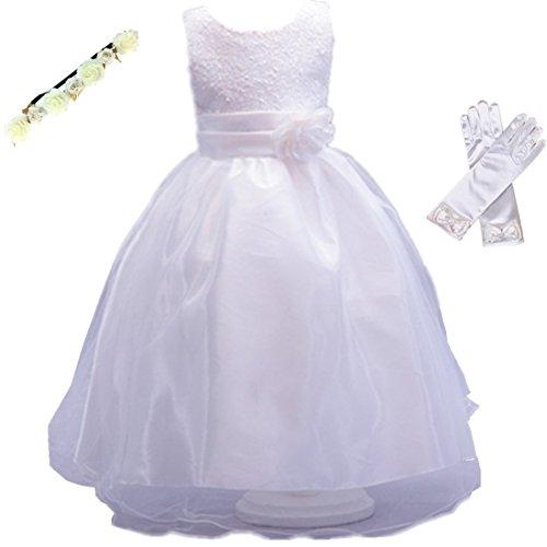Hochzeit Kleid für Kinder Mädchen mit Handschuhen und Haarband - Tyidalin Festlich Pailleten Tüll Abendkleid Party Prinzessin Kleider Blumenmädchen, Weiß, (Kind Prinzessin Handschuhe)