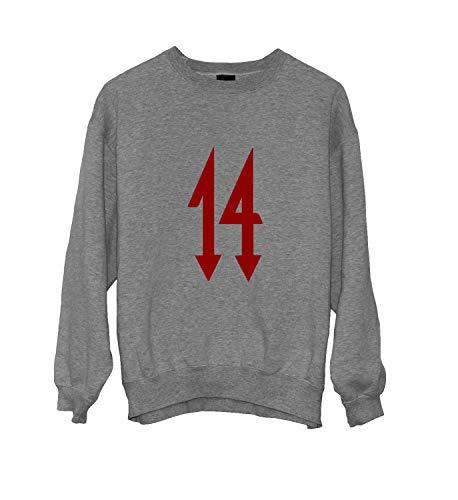 MTNACLOTHING Trippie Redd Rap Music Legend 14 Devil Red_MA0228 Crewneck Sweater Gift for Him Her Unisex, M Grey -