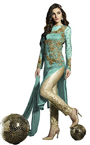 Justkartit Women's Semi-Stitched Sky Blue Colour Awesome Salwar Kameez / Party Wear...