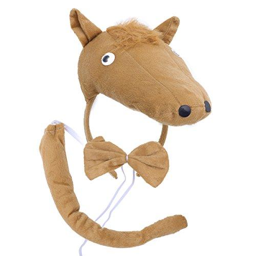 BESTOYARD Kinder Kostüme Pferd Kopf Stirnband mit Ohren Tier Schwanz Fliege für Cosplay Halloween Party Favors 3 - Katze Pferd Kostüm