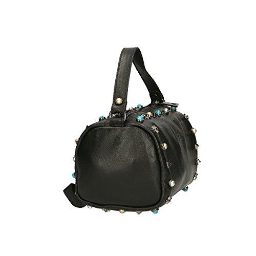 Chicca Borse Borsa a mano in pelle 18x12x12 100% Genuine Leather Nero