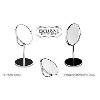 LOYWE Designer wunderschöner Kosmetikspiegel -Standspiegel mit Fuß-Badspiegel-3 Fach-17 cm ø LWWS 59-3
