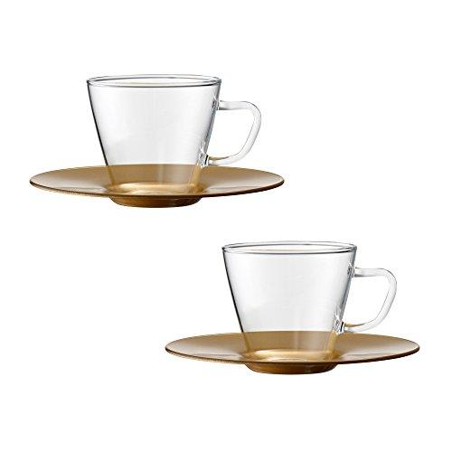 Bohemia Cristal 093 012 114 PLAY OF COLORS 2er-Set Espressotassen aus Borosilikatglas mit Unterteller aus Kunststoff Trinkglas, Glas, Gold, 0.1 x 0.1 x 5 cm, 2-Einheiten