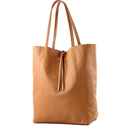 modamoda de - T163 - Ital. Shopper Schultertasche aus Leder, Farbe:Cognac