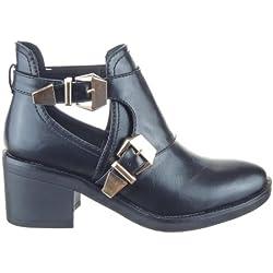 Sopily - Zapatillas de Moda Botines altas low boots A medio muslo mujer Hebilla Talón Tacón ancho 6.5 CM - Negro CAT-AS1403 T 39 - UK 6