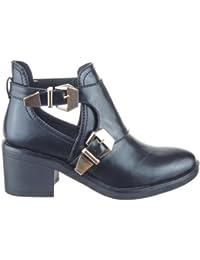 Sopily - Zapatillas de Moda Botines altas low boots A medio muslo mujer Hebilla Talón Tacón ancho 6.5 CM - Negro