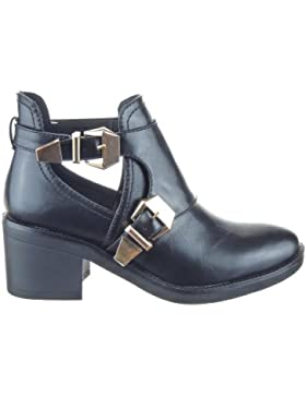 Sopily - damen Mode Schuhe Stiefeletten Hohe Low boots Schleife - Schwarz