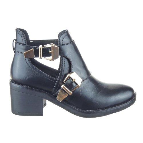 Sopily - Scarpe da Moda Stivaletti - Scarponcini Low Boots Alti donna fibbia Tacco a blocco 6.5 CM - Nero CAT-AS1403 T 36 - UK 3