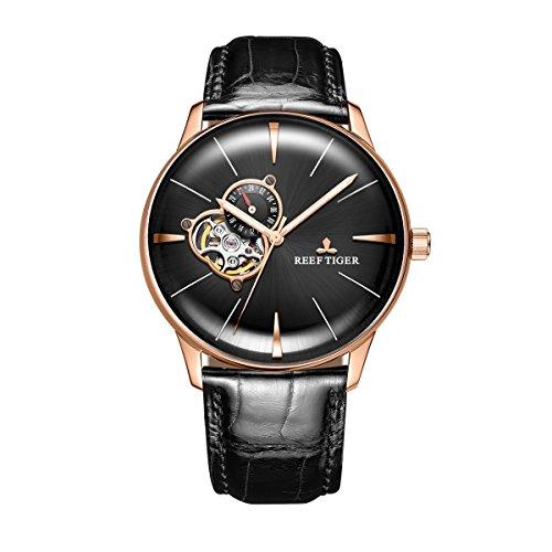 REEF TIGER Herren Uhr analog Automatik mit Leder Armband RGA8239-PBB