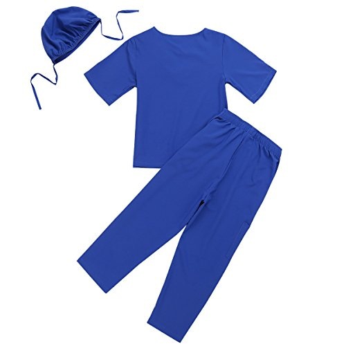 Alvivi Kinder Kostüm Unisex Arzt Ärztin Kurzarm Tops+Hosen+Kappe Doktor Arztkostüm Arztkittel - Laborkittel Halloween Karneval Fasching Cosplay Verkleidung Blau 152-164