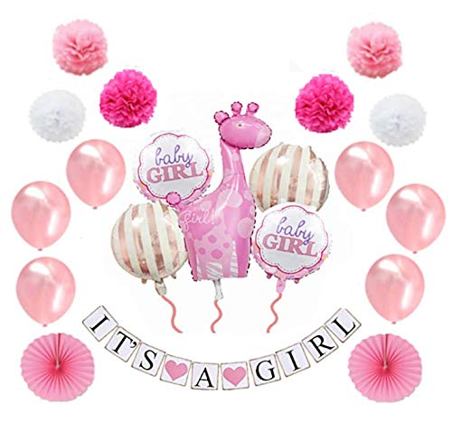 MW & P Babyparty Mädchen/ Junge - Babyshower - It's a Girl/ It's a Boy - Baby Party Dekoration - Deko - Baby Shower Set (Banner, Luftballons, Pom Poms) - 20 Teile (Mädchen)
