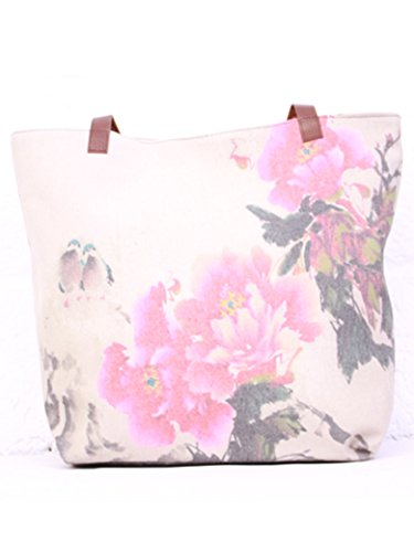 Handtasche / Shopper, aufgedruckte große Vögel und Blumen, Leinen, modisch, für Schule, Uni oder am Wochenende rot