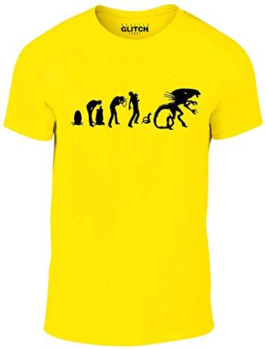 Reality Glitch Herren Evolution of Alien T-Shirt (Gelb, X-Large) (Gelben T-shirt Branchen)